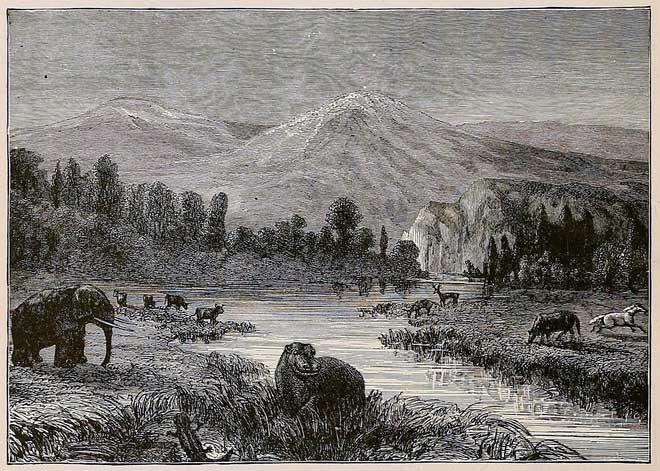 Cảnh trí của Thế Pliocen dưới con mắt của họa sĩ thế kỷ 19.