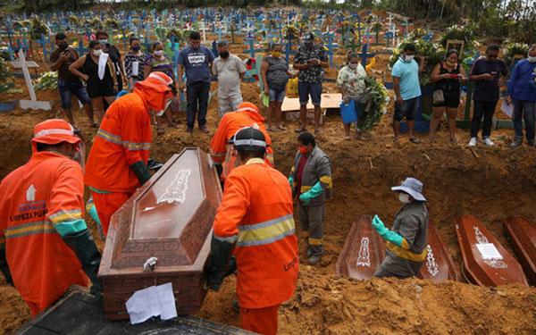 Chôn cất người mắc Covid-19 ở Manaus.