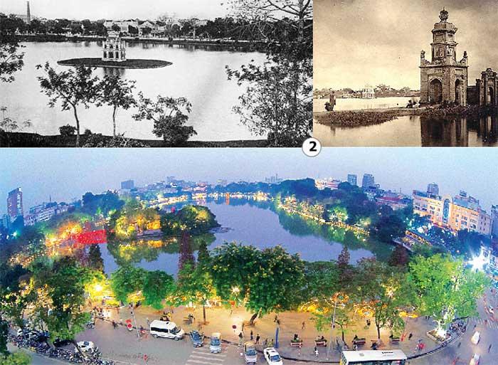 Hồ Hoàn Kiếm xưa và nay.