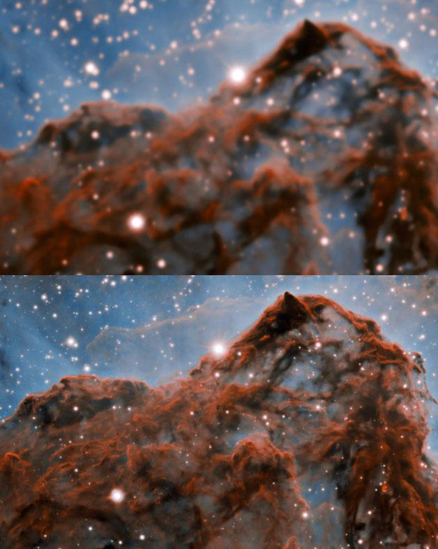 Ảnh chụp cũ (trên) và ảnh chụp với kỹ thuật quang học thích ứng (dưới).