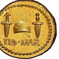 Đồng xu vàng 2.000 năm khắc hình kẻ ám sát Julius Caesar