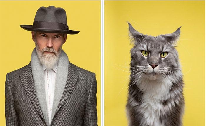Dominic và chú mèo Merlin thuộc giống Blue Tabby Maine Coon.