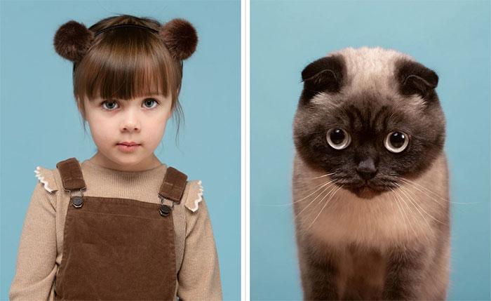 Nancy và chú mèo Buttons, giống Scottish Fold.
