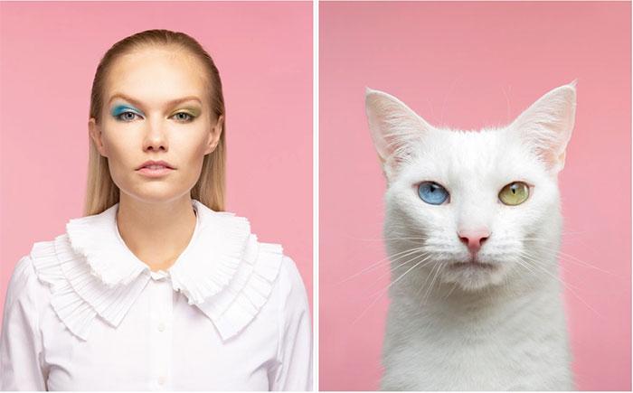 Người mẫu Elisabeth và chú mèo Angelique, giống Khao Manee.