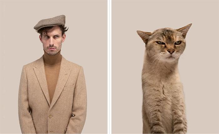 Matthew và mèo Hubert (giống Abyssinian).