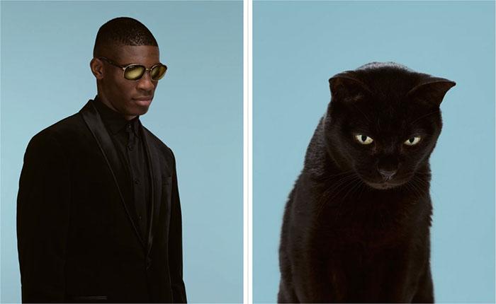 Tobias và chú mèo Hero (giống Moggy).