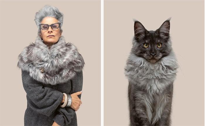 Marielle và mèo Jacques (giống Silver Maine Coon).