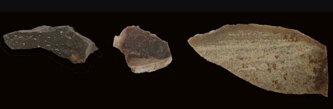 Từ trái qua phải: một nắp nồi, mảnh vụn còn sót lại, lưỡi dao