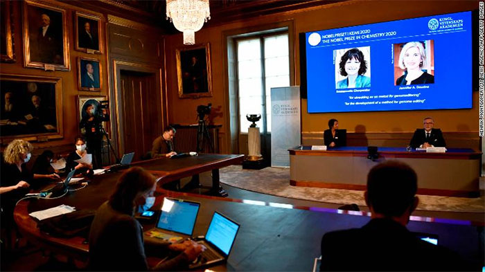 Giải Nobel Hóa học năm 2020 được công bố tại Stockholm (Thuỵ Điển) vào ngày 7/10
