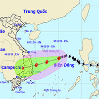 Bão Goni (cơn bão số 10) tiến gần quần đảo Hoàng Sa, sẽ vào đất liền từ Quảng Ngãi đến Khánh Hòa