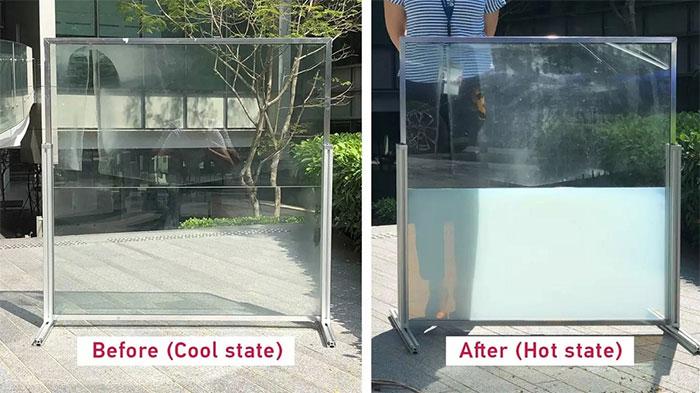 Ảnh trước và sau của một cửa sổ thông minh, nửa dưới của cửa sổ được tích hợp công nghệ mới.