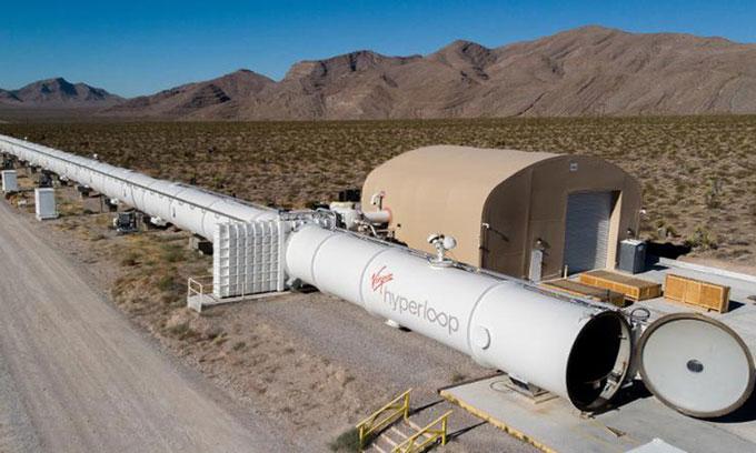Tuyến đường tàu hyperloop thử nghiệm tại Las Vegas.