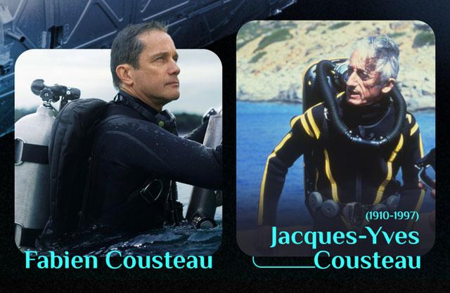 Jacques-Yves Cousteau (phải) và cháu trai Fabien Cousteau.