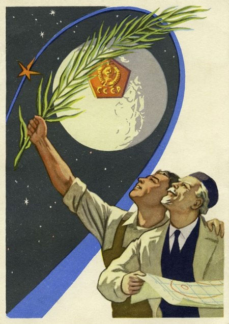 Hình minh họa cho các công trình và kỹ sư Liên Xô đóng góp vào cuộc đua vào không gian.