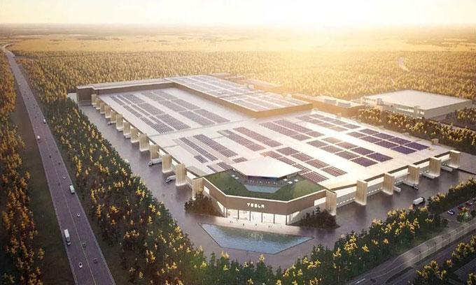 Mô phỏng nhà máy sản xuất pin xe điện lớn nhất thế giới của Tesla.