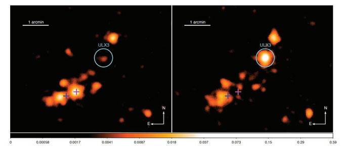 Ảnh chụp cho thấy sự thay đổi độ sáng của NGC 7090 ULX3.