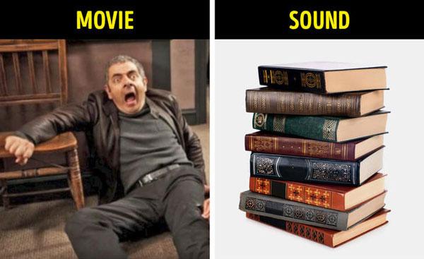 Âm thanh của một người ngồi hoặc nằm phịch xuống – dùng chồng sách lớn