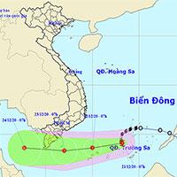 Áp thấp mạnh lên thành bão số 14 cách Huyền Trân 280km, biển phía Nam sóng cao từ 5m - 8m