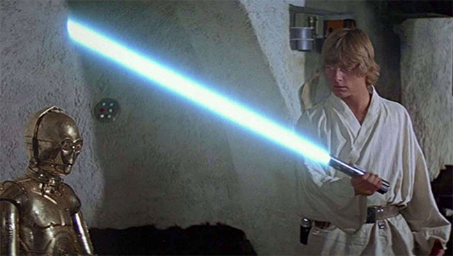"""Thanh gươm laser trong phim """"Chiến tranh giữa các vì sao""""."""