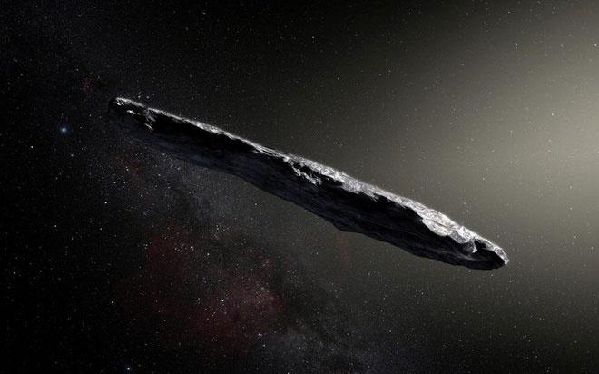 Ảnh mô phỏng hình dạng của 'Oumuamua, được phát hiện vào năm 2017.