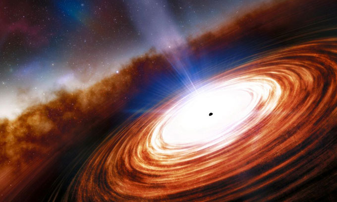 Minh họa chuẩn tinh, một trong những vật thể sáng nhất vũ trụ.