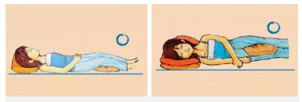 Chiếc gối nhỏ là để kê dưới chân hoặc kẹp giữa hai chân khi ngủ