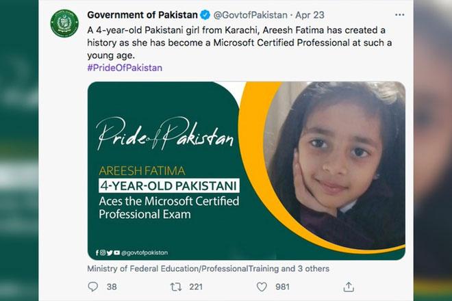 Fatima được chính phủ Pakistan vinh danh trên Twitter.
