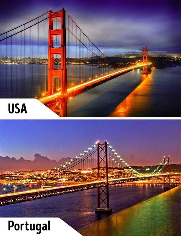 Cầu Cổng Vàng và Cầu 25 de Abril