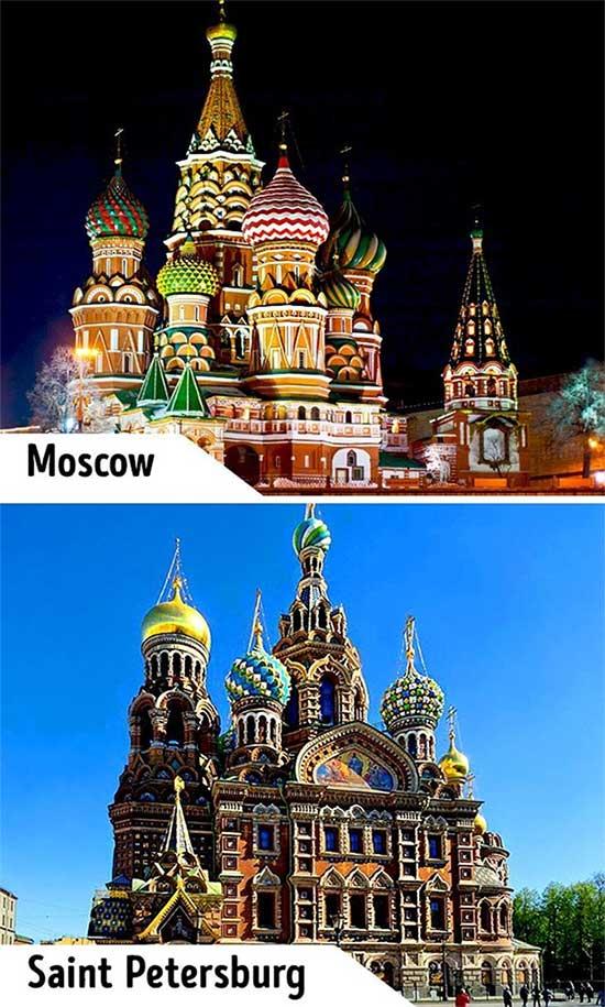 Nhà thờ Saint Basil ở Moscow và Saint Petersburg