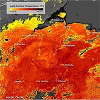 Ảnh vệ tinh cho thấy, nhiệt độ tại vòng cực Bắc nóng tới 48 độ C